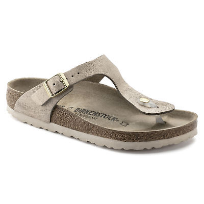 Birkenstock Leather Gizeh $179rrp Washed Metallic Rose Gold BNIB 1008953