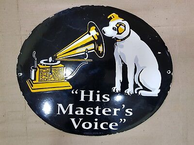 Old Porcelain His Masters Voice Enamel Sign 21 X 18 Inches