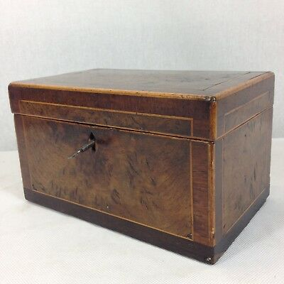 Antique 19th Century Burr Walnut Tea Caddy 2 Section With Key