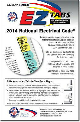 2014 Color Coded EZ Tabs For NEC National Electrical Code Book Free & Fast Ship!
