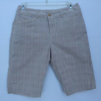 Womens Shorts Bermuda Sonoma Life + Style Size 6 Beige With Brown Square Pattern