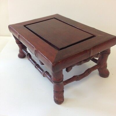 Vintage Chinese Miniature Bamboo Table Display Stand 14cm X 9.5cm X 6cm