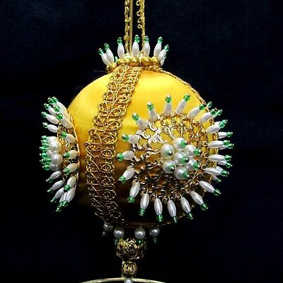 VTG Hand Decorated Satin Christmas Ornament Ball Gold w Pearls Beads Medallions