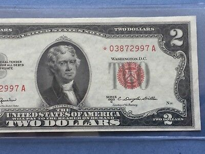 1953 C STAR $2 TWO DOLLAR BILLS ( Red Seal) UNCIRCULATED