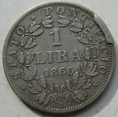 Italy Papal States Vatican 1866-R Silver 1 Lira Pope Pius IX