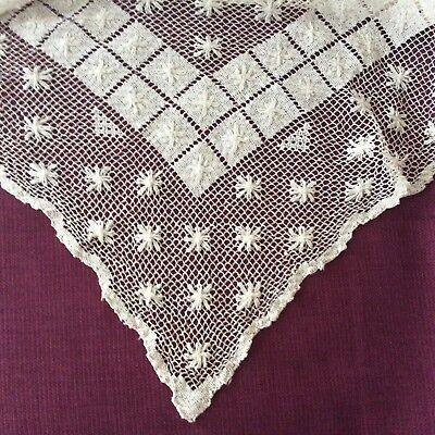 Antique Lace Hand Drawn Thread Table Cover Beige Cotton
