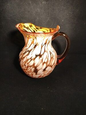 Art Glass Amber With End Of The Day White Glass Stretched Pitcher  Hand Blown