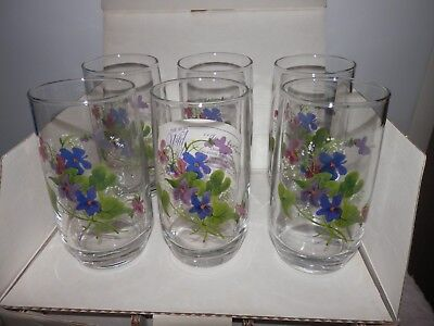 Set of 6 Avon 1981 Wild Violets Tumblers Glasses by J Walsh M in Box New