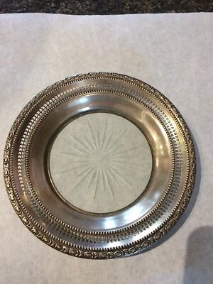Antique FRANK M WHITING STERLING SILVER Talisman Rose WINE BOTTLE COASTER