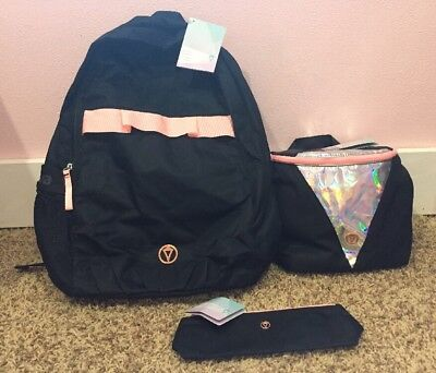 NWT 3PC Set Ivivva By Lululemon Pack Backpack Lunch Bag Pencil Case BLK/BLEC