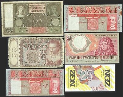 Netherlands Collection 6x 25 100 Gulden 1938 - 1989 Set