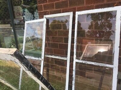 """Lot 4 VTG Antique WOOD WINDOW FRAME Storm Two SINGLE PANE GLASS  27.5"""" 70.5 Tall"""