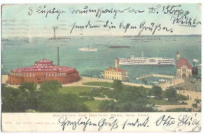 AK New York - Aquarium and Battery Park, gel. 1907