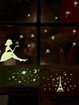 2 Pack Glow In The Dark Luminous Wall Stickers Night Bedroom Fluorescent Sticker