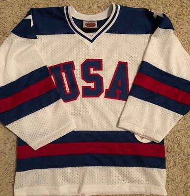 15168a502fd NEW With Tags USA 1980 Home Hockey Jersey K1 Sports Wear Size Youth Medium