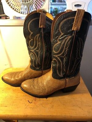 737ba6c50c1 MEN'S BROWN LEATHER Nocona Cowboy Western Boots sz:8.5EE WIDE Made In USA