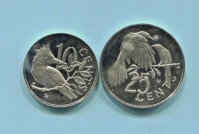 British Virgin Islands - 2 Fantastic 1973 Bird Proof Coins, 10 And 25 Cents