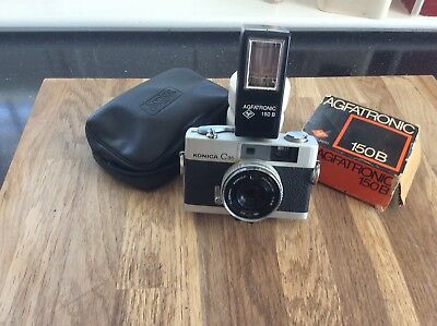 Vintage Konica C35 Compact 35mm Camera, Agfatronic 150B Flash Gun.