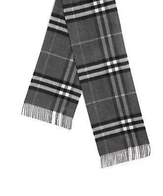 Burberry Men's Charcoal Gray Mega Check 100 Cashmere Scarf