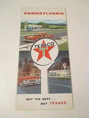 Vintage 1960's TEXACO PENNSYLVANIA Gas Service Station Road Map