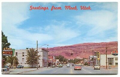 (#238) Main Street American Gas Station Old Cars Motel Moab Utah 1950s Postcard