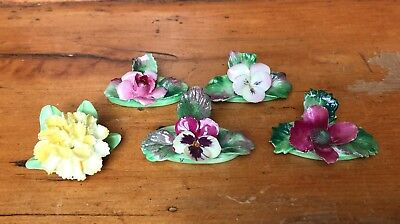 Vintage Staffordshire Fine Bone China Small Florals, Lot of 5