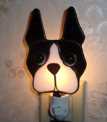 "Boston Terrier STAINED GLASS NIGHT LIGHT - 5 1/2"" H - ADORABLE!"