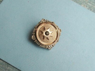 Old Antique French Rose Gold Plated Pinchbeck Seed Pearl Brooch Pin c.1880 Fine