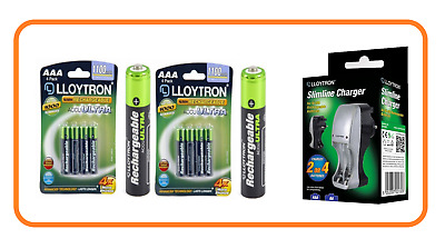 Lloytron AAA Rechargeable Batteries High Capacity 1100mAh NiMH SLIMLINE Charger
