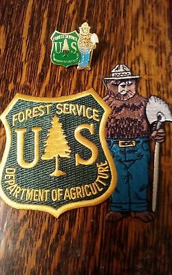Classic Smokey's  Forest Service Fabric Patch With Cloisonne Lapel-Type Clasp.