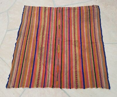 "Antique/vintage Peruvian Aguayo Table Cloth-  Andean Mountain Textile 47"" x 47"""