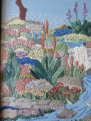 Vintage Hand Embroidered Picture- Stunning English Country Gardens -Framed