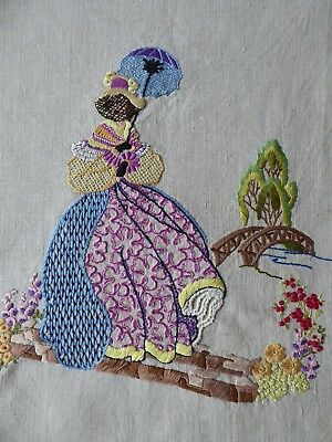Vintage Hand Embroidered Picture Panel Of Exquisite Embroidered Crinoline Lady