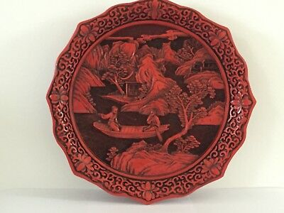 Chinese Carved Cinnabar Plate