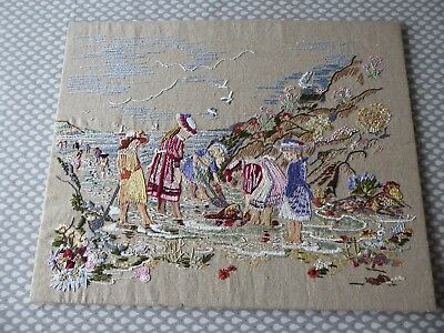 Vintage Hand Embroidered Picture Panel - Children Playing By The Seashore