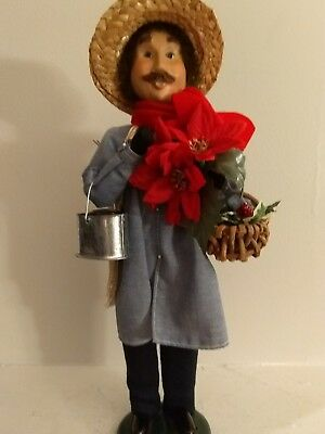"""Byers Choice Male Gardner with Poinsettia and garden tools, Straw Hat, 13"""" tall"""