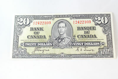 Canada 1937 $20 Twenty Dollar Bank Note Coyne Towers Bc-25c Nice Note