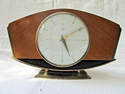 Retro Vintage 60's Metamec Mantle Clock Brass/Bronze Wood. Mechanical. Working