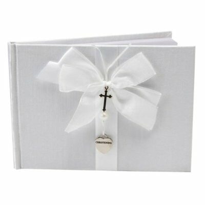 Silver Cross   Heart Christening Guest Book, Gift By Ukgiftstoreonline