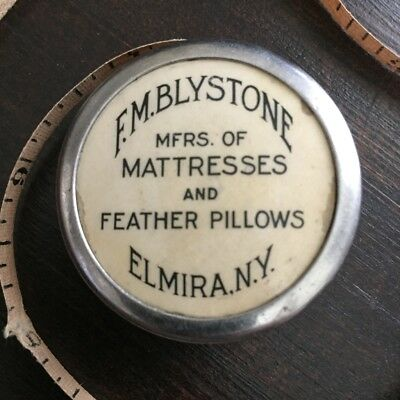 F M Blystone Mattresses Feathers Elmira New York Advertising Old Tape Measure