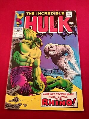 Incredible Hulk (1st Series) #104 1968 GD/VG 3.0 off WHITE TO WHITE PAGES GLOSSY