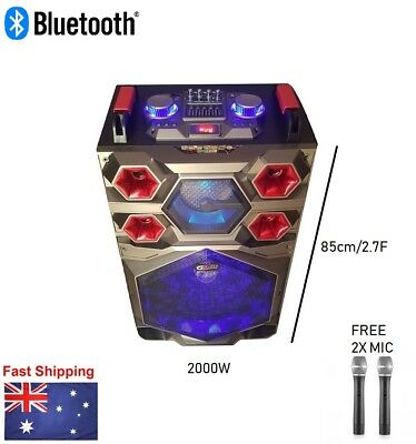 "2000W Portable Rechargeable Bluetooth PA Speaker DJ 15"" Subwoofer AU"