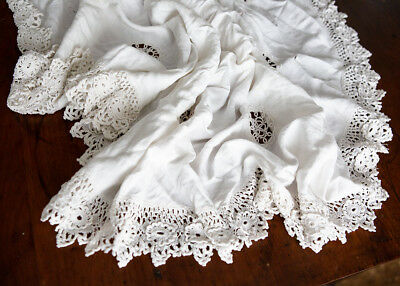 Antique linen & crochet lace tablecloth Victorian Farmhouse