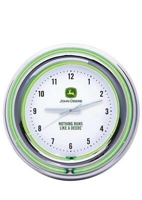 John Deere 'Nothing Runs Like a Deere' White Double Neon Clock!! Great Price!!