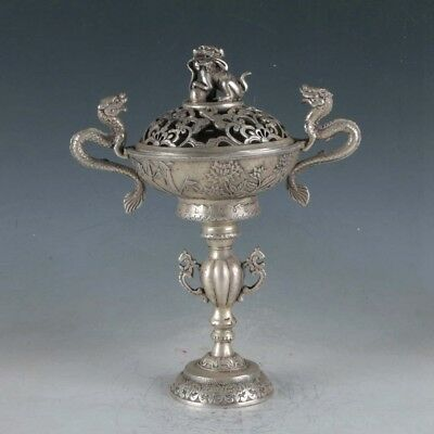 Exquisite Tibetan Silver Dragon Incense Burner BT0003+a