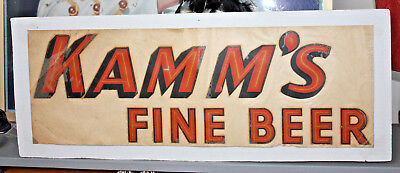 "Kamm's Beer /Large 28""  x 10"" Beer Sign 1940's South Bend, Indiana"