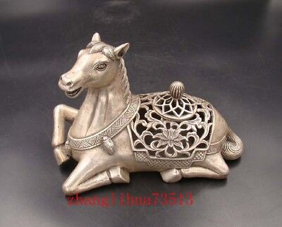 Handmade Carving Statue Horse Copper Silver Incense Bumer QianLong Mark