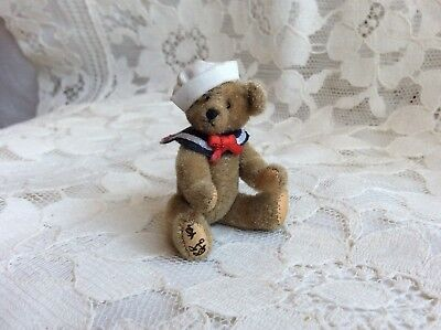 Artisan Signed Dollhouse Vintage Miniature Jointed Teddy Bear Sailor Leather Paw