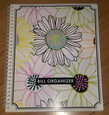 Extra Large Monthly Bill Organizer Spiral Bound With Pockets - Stylized FLOWERS