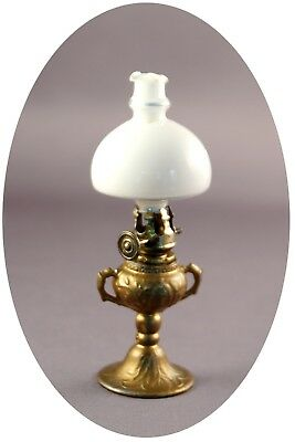 Antique Cast Metal Dollhouse Miniature Oil Lamp with Delicate Handblown Shade